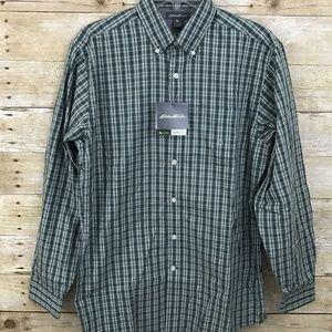 Eddie Bauer  Wrinkle Free Green Plaid Shirt NWT S